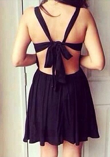 Crisscross Cutout Dress - Black by LookBookStore