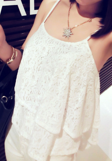 Double Layers Crop Top - White by LookBookStore