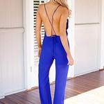Pleated Surplice Jumpsuit - Royal Blue