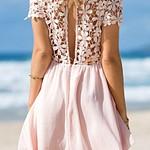 Crochet Lip Cutout Back Dress - Pink