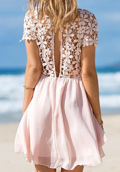 Crochet Lip Cutout Back Dress - Pink by LookBookStore