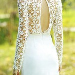 Crochet Open Back Dress - White