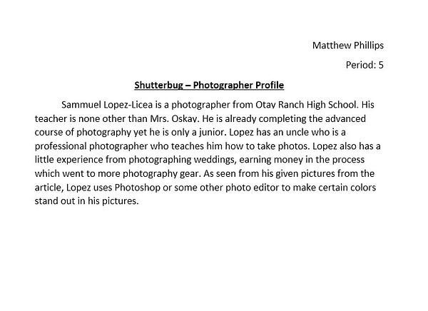 Shutterbug - Sam Lopez by MatthewPhillips54989
