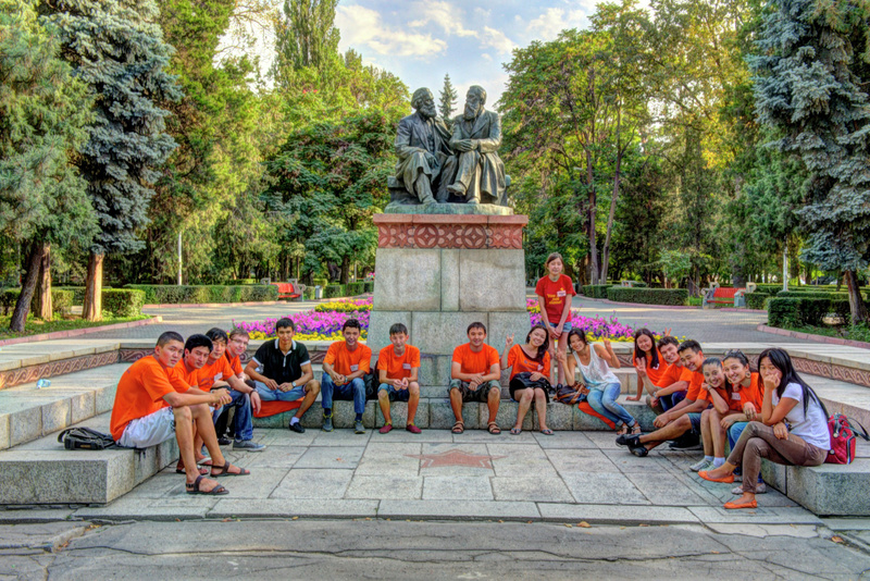 American University Student Orientation with Marx and Engles (Bishkek)