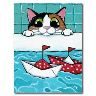 paper_sail_boats_calico_cat_art_postcard-r11d48e14c137470...