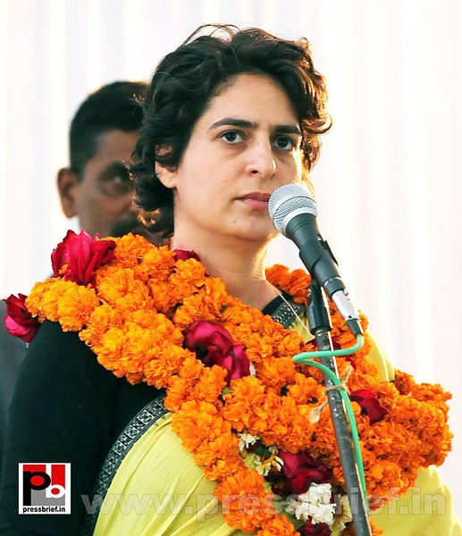 Priyanka Gandhi addresses by Pressbrief In