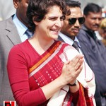 Priyanka Gandhi with the crowd