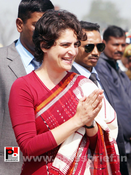 Priyanka Gandhi with the crowd by Pressbrief In by...