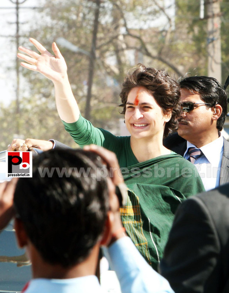 Congress star campaigner Priyanka Gandhi (24) by...