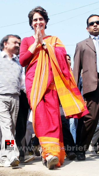 Congress star campaigner Priyanka Gandhi (23) by...