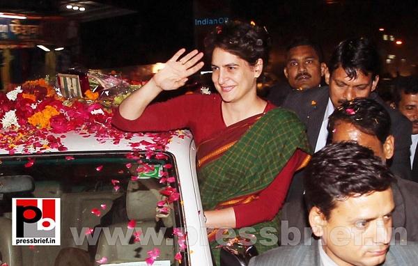 Congress star campaigner Priyanka Gandhi (10) by...