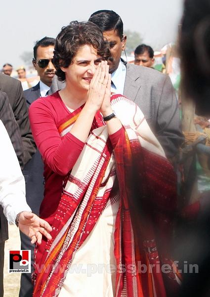 Congress star campaigner Priyanka Gandhi (3) by...
