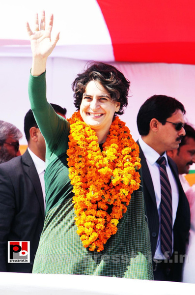 Congress star campaigner Priyanka Gandhi (9) by...