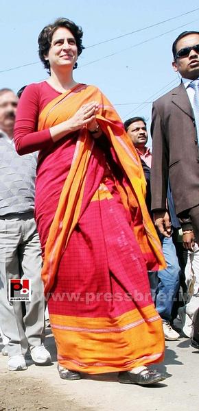 Congress star campaigner Priyanka Gandhi (29) by...