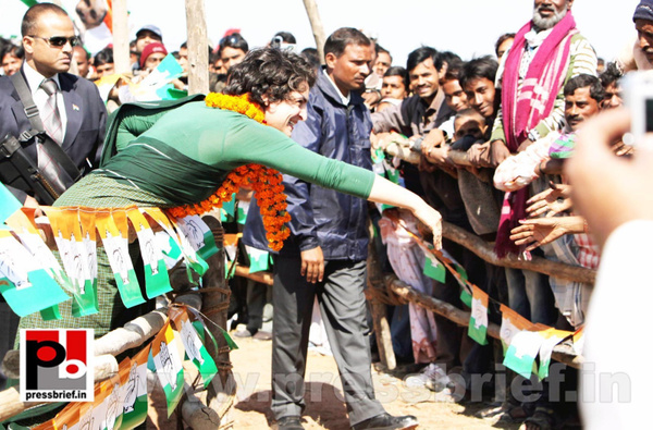 Congress star campaigner Priyanka Gandhi (28) by...