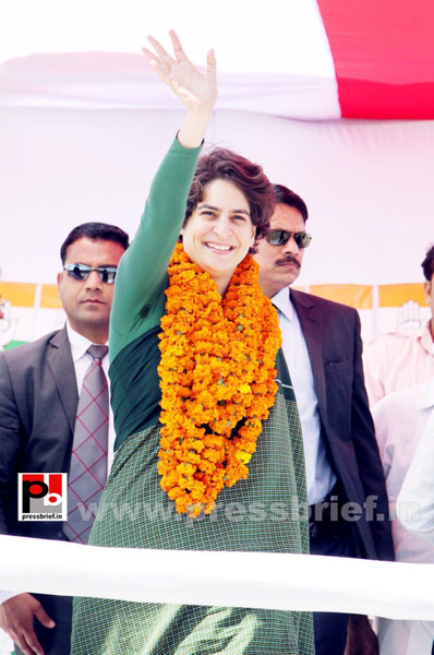 Congress star campaigner Priyanka Gandhi (26) by...