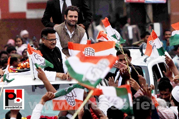 Rahul Gandhi during road show at Barabanki (5) by...