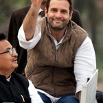 Rahul Gandhi during road show at Barabanki