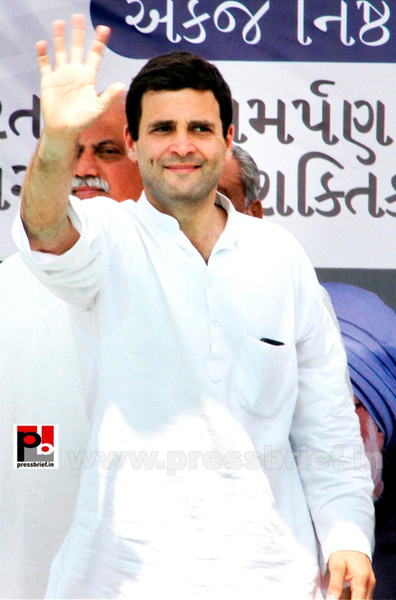Rahul Gandhi at a Congress rally in Gujarat by...