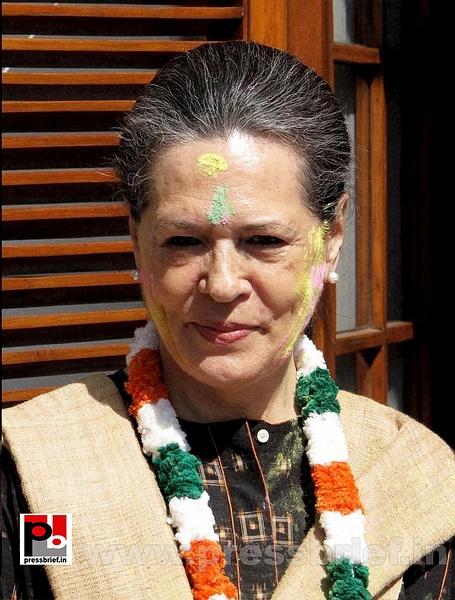 Sonia Gandhi celebrates holi by Pressbrief In