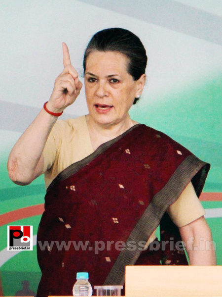 Sonia Gandhi at Congress manifesto release by Pressbrief...