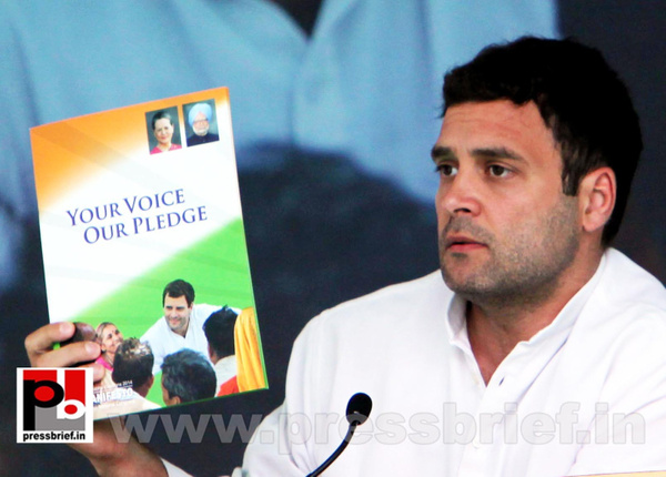 Rahul Gandhi during Congress manifesto release by...