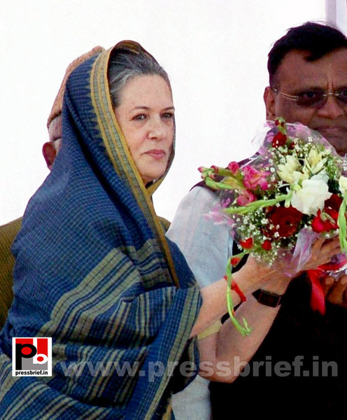 Sonia Gandhi at Aligarh, UP by Pressbrief In