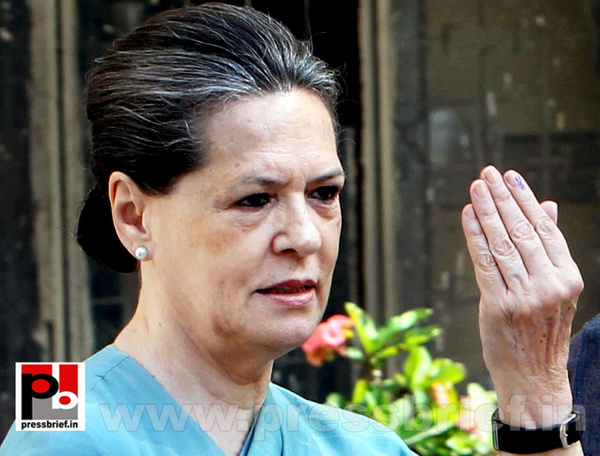 Sonia Gandhi after voting for LS polls (1) by Pressbrief...