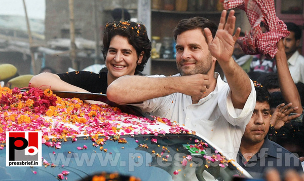 Priyanka, Rahul Gandhi during road show in Amethi (1) by...