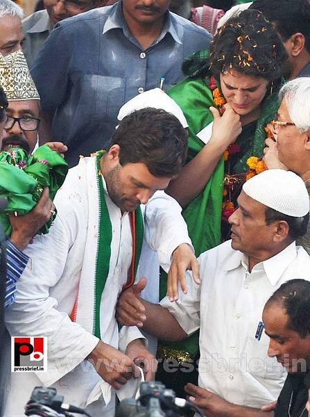 Priyanka, Rahul during road show in Amethi by Pressbrief...