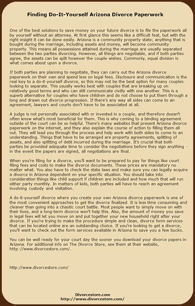 Finding Do-It-Yourself Arizona Divorce Paperwork by CraigTorres