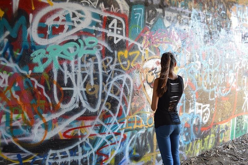 looking at the wall