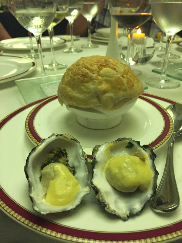 Oysters and French onion soup. Bordeaux.