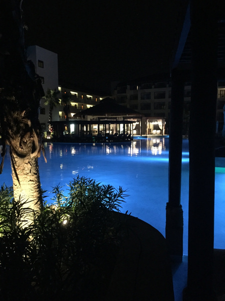 Pool at night by JanieBac
