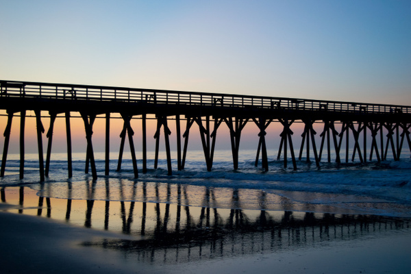 pier at the sunrise by Elaine Everly