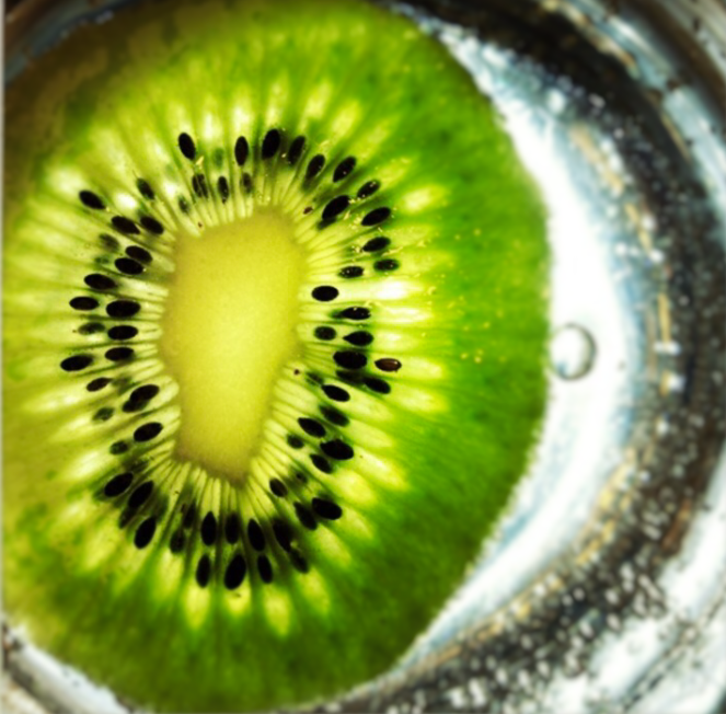 slice of kiwi in sparkling water