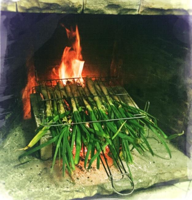 roasting leeks on the farm