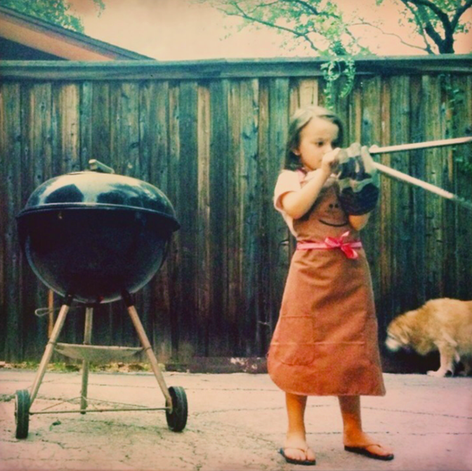 bbq in the backyard with my daughter