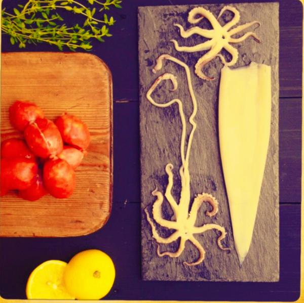 herb braised calamari by Gabriel le Roux