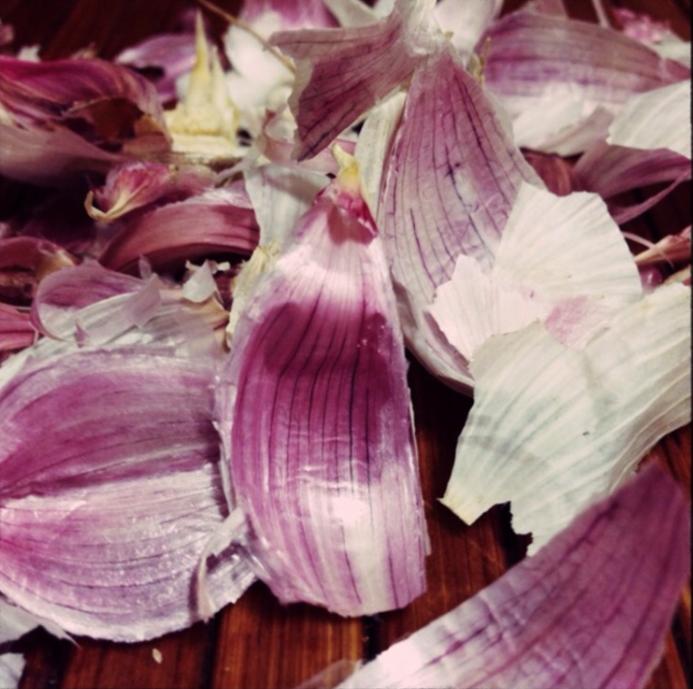garlic peelings for the stock pot