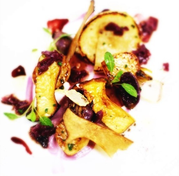 olive oil poached turnip by Gabriel le Roux