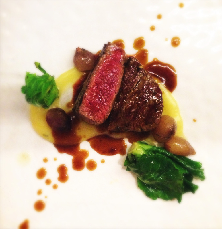 red wine poached beef