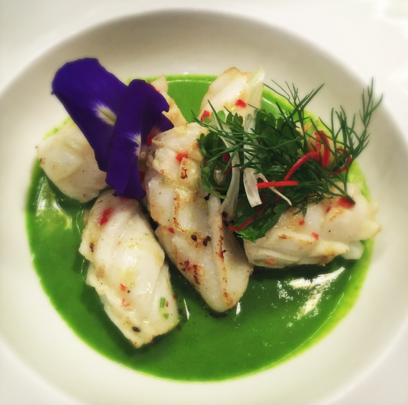 calamari and burnt cucumber veloute
