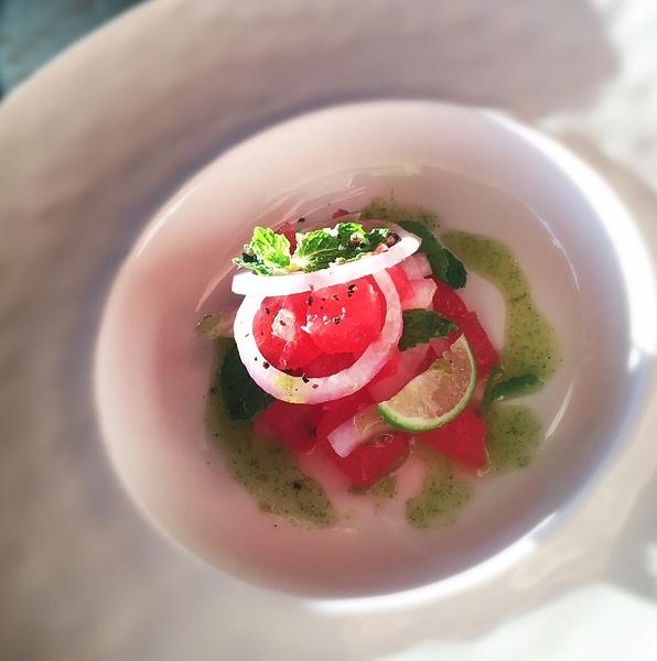 watermelon salad by Gabriel le Roux