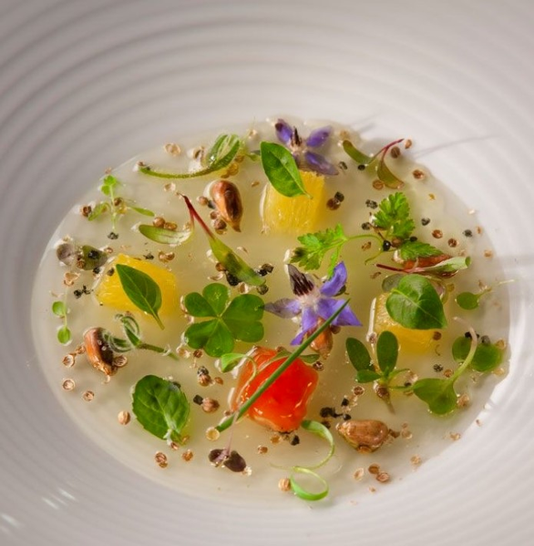 tomato gel, coriander, corn and herbs by Gabriel le Roux