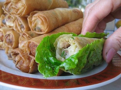 caesar salad spring rolls by Gabriel le Roux