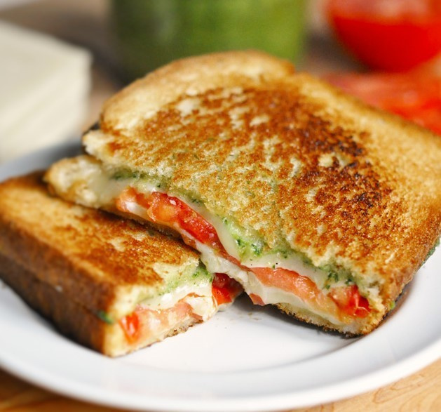 my lunch - pesto caprese grilled cheese