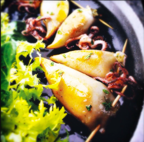 stuffed calamari beach salad by Gabriel le Roux