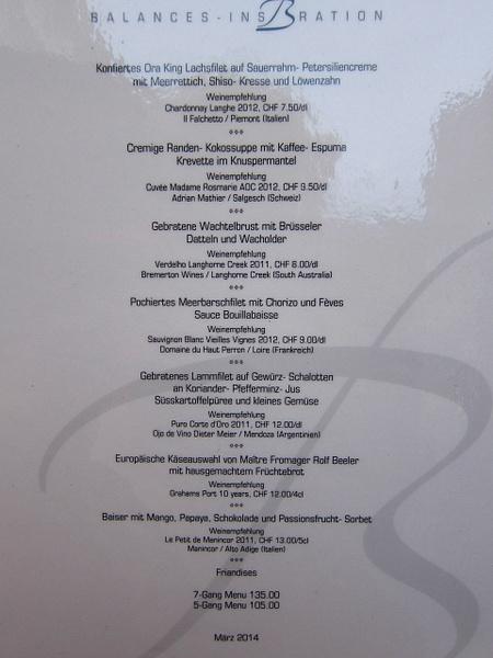 lunch menu switzerland by Gabriel le Roux