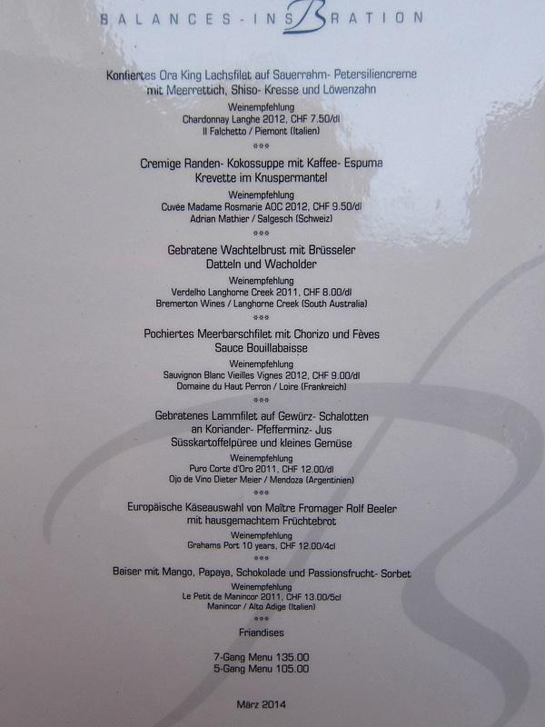 lunch menu switzerland